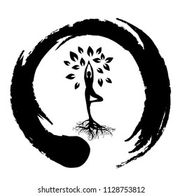 meditating person become tree, personal grow,  healing, connection with earth, logo icon