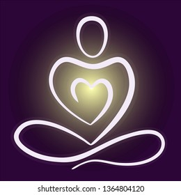 Meditating person with inside glow from heart. Abstract logo icon template. Vector illustration.