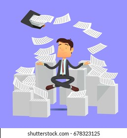 Meditating relaxing business man sitting in yoga pose with flying around documents from portfolio bag. Vector illustration in flat design style. Full editable for animation.