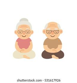 Meditating senior couple. Cute cartoon old people sitting in meditation. Healthy lifestyle and mindfulness illustration.