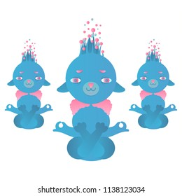 Meditating supernatural beings / aliens on a white background. Pink, purple, blue, blue gradient.