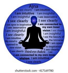 Meditierende Frau. Ajna chakra Bestätigung.