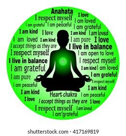 Meditierende Frau. Anahata chakra Bestätigung.