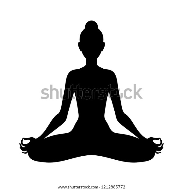 Meditating Woman Lotus Pose Silhouette Yoga Stock Vector Royalty Free 1212885772