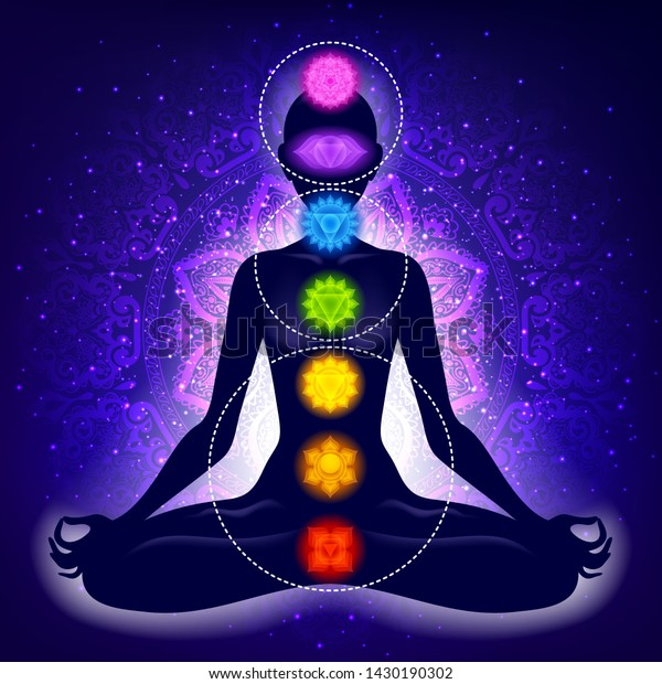 Meditating woman in lotus pose. Yoga illustration. Colorful 7 chakras and aura glow. Mandala background. Three chakras types grouped in circles.