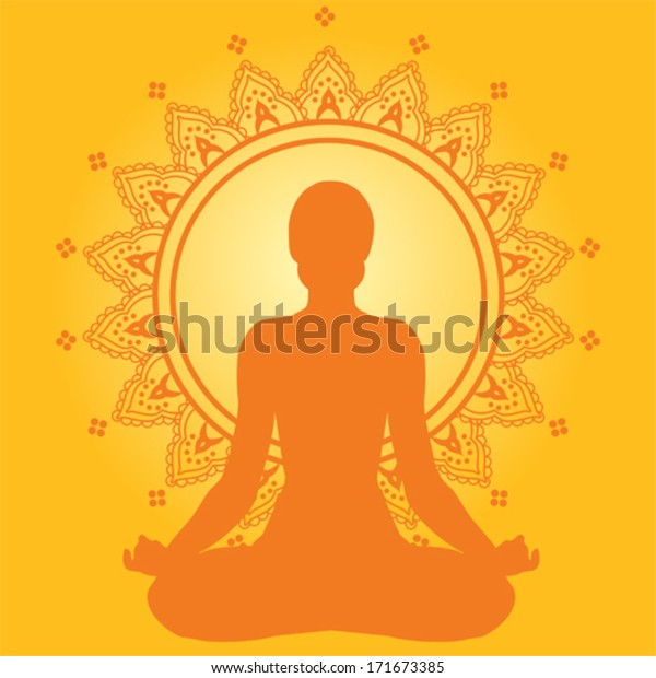 Meditating Woman On Yellow Indian Style Stock Vector Royalty Free