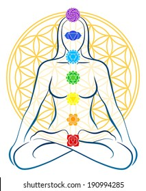 Meditating woman with the seven main chakras, which match perfectly onto the junctions of the Flower-of-Life-Symbol in the background.
