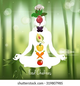 Meditating woman silhouette with food chakras symbols vector illustration
