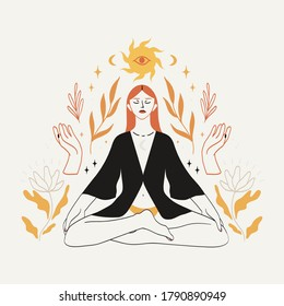 Meditating woman sitting in lotus pose in boho style with celestial bodies, mystic and floral elemets. Concept of spirituality, third eye, magic, zen for logo, emblem, print design.