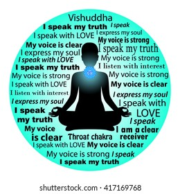 Meditating woman. Vishuddha chakra affirmation.
