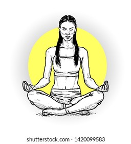 A meditating woman in a zen state of mind. Hand drawn vector illustration.