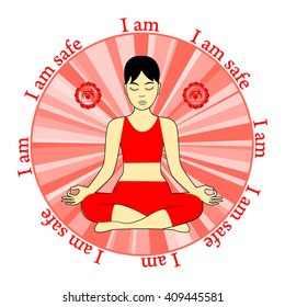 Meditating women. Muladhara chakra activation. I am. Iam safe.