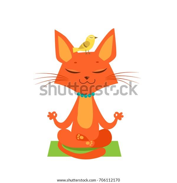 Meditating Yoga Cat Vector Funny Cartoon Stock Vector Royalty Free 706112170