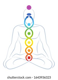 Meditating yoga man with colored chakras and rainbow gradient Kundalini serpent, symbolic for spirituality, balance, harmony, relaxation and healing power. Vector illustration on white.