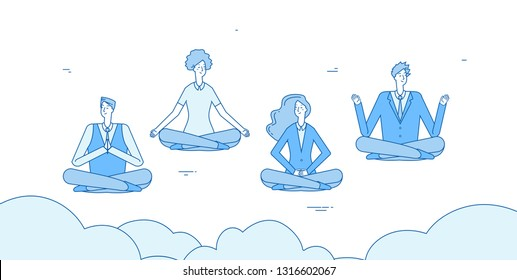 Meditation businessmen. People relax in zen yoga lotus positioning in office. Employees avoid stress vector concept