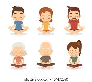 Meditation characters set. Flat design.