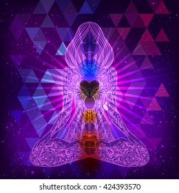 Meditation concept. Woman ornate silhouette sitting in lotus pose over night sky background. Vector illustration. New age, inner light, sacred geometry, kundalini, chakra, natural healing.