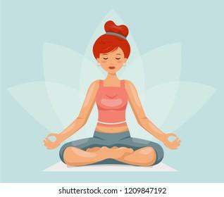 Meditation cute girl female yoga health cartoon character design vector illustration