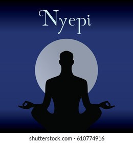 Meditation in front of moon sun, Nyepi celebration, the day of silence