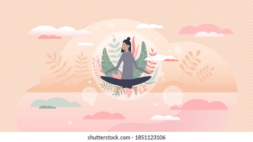 Meditation harmony and balance as floating peace bubble tiny person concept. Abstract scene with female flying above ground from physical relaxation, calmness and mental wellness vector illustration.