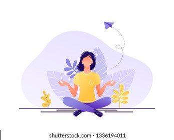 Meditation, health benefits for body, controlling mind and emotions, inception and the search for ideas. Woman are sitting in the lotus position. Flat concept vector illustration