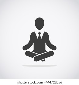 Meditation icon. Businessman in formal suits meditating in lotus pose