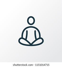 Meditation icon line symbol. Premium quality isolated yoga element in trendy style.
