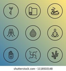 Meditation icons line style set with religion, meditation, burning candle swastika elements. Isolated vector illustration meditation icons.