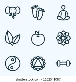 Meditation icons line style set with leaves, feet, ornament and other mandala elements. Isolated vector illustration meditation icons.