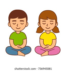 Meditation for kids, children mindfulness activity. Cute cartoon boy and girl, vector character illustration.