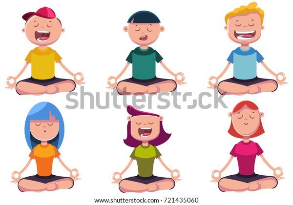 Meditation Kids Engaged Yoga Vector Cartoon Stock Vector