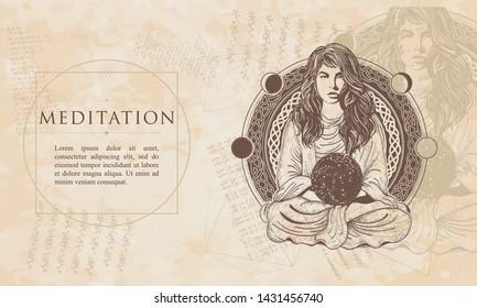 Meditation. Magic woman. Girl in lotus pose. Symbol philosophy, astrology, yoga. Renaissance background. Medieval manuscript, engraving art