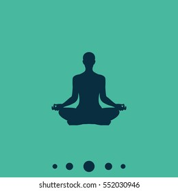 Meditation or meditate flat vector icon. Yoga illustration. Lotus position simple pictogram.