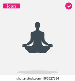 Meditation or meditate flat vector icon. Lotus position simple pictogram. Yoga pose logo illustration