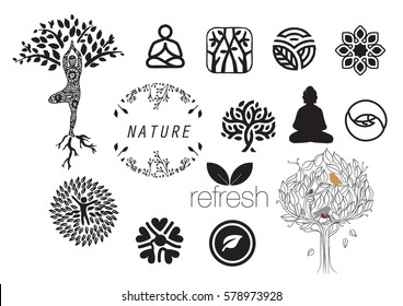 Meditation with nature icon set (vector)