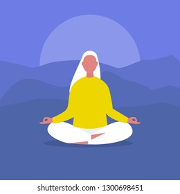 Meditation. Outdoor yoga. Harmony and relaxation. Calm female character sitting in a lotus pose. Flat editable vector illustration, clip art. Modern healthy lifestyle