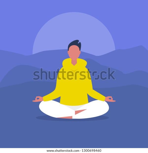 Meditation Outdoor Yoga Harmony Relaxation Calm Stock Vector Royalty Free 1300698460