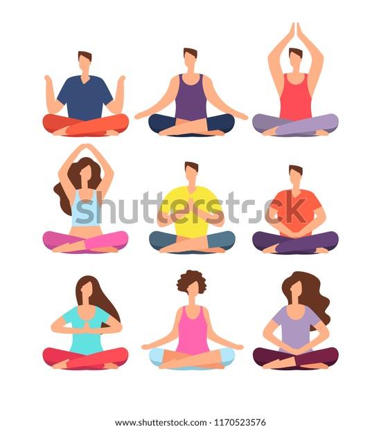 Meditation People Woman Man Meditating Group Stock Vector Royalty Free 1170523576