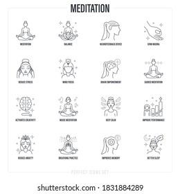 Meditation set: girl in lotus pose, neurofeedback device, gyan mudra, balance, reduce stress, guided meditation, breathing practice, mind focus, better sleep. Thin line icons. Vector illustration.