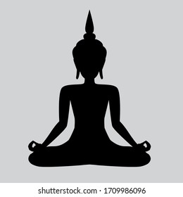 meditation silhouette, Yoga icon template color editable. Yoga symbol vector sign isolated on background. Simple logo vector illustration for graphic and web design. Buddha.