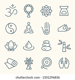 Meditation and spa retreat line vector icon set