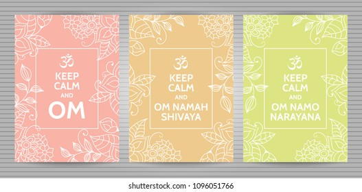 Meditation and spiritual practice Hindu and Buddhist mantras motivational typography posters on soft pink, orange and yellow background with floral pattern. Set of yoga studio postcards.