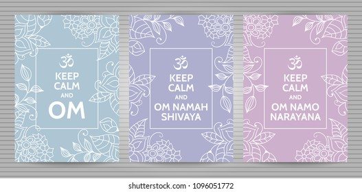 Meditation and spiritual practice Hindu and Buddhist mantras motivational typography posters on soft blue,  purple and pink background with floral pattern. Set of yoga studio postcards.