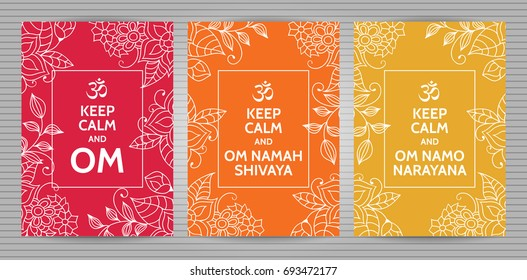 Meditation and spiritual practice Hindu and Buddhist mantras motivational typography posters on colorful red, orange and yellow background with floral pattern.