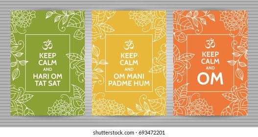 Meditation and spiritual practice Hindu and Buddhist mantras motivational typography posters on colorful green, yellow and orange background with floral pattern. Set of yoga studio postcards.