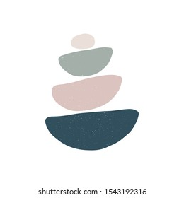 Meditation stones flat vector illustration. Abstract shape rocks pyramid isolated on white background. Stacked pebbles color drawing. Cool print, t shirt design element. Balance and zen concept