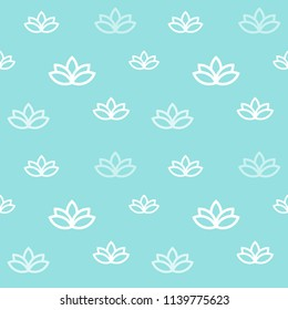 Meditation style outlined seamless pattern with lotus symbol.