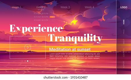 Meditation at sunset cartoon landing page, invitation to yoga experience on evening ocean beach. Purple clouds in sky above sea surface, nature landscape , dusk view. vector illustration, web banner