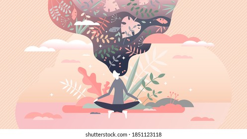 Meditation therapy as mind and body harmony and balance tiny person concept. Female relaxation with physical and mental wellness treatment vector illustration. Spiritual lotus silence sitting position