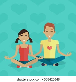 Meditation vector concept in flat design. Young red-head boy and brunet girl in sportswear meditating in lotus position. Common interests and hobby. For yoga club ad. On blue background with hearts